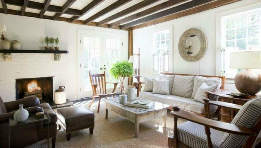 Make Your Living Room Feel More Cozy and Natural with Exposed Wood Beams