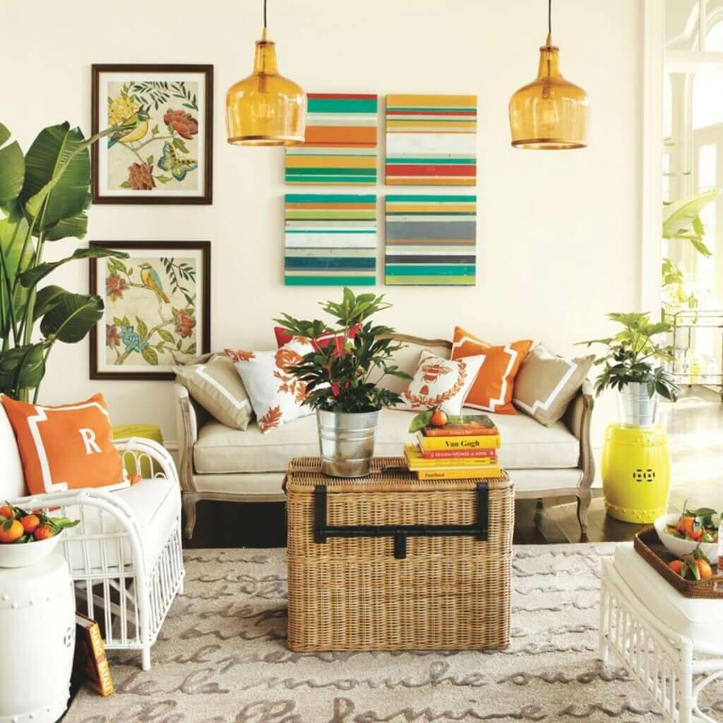 Refreshing Summer Living Room Designs with Pops of Color